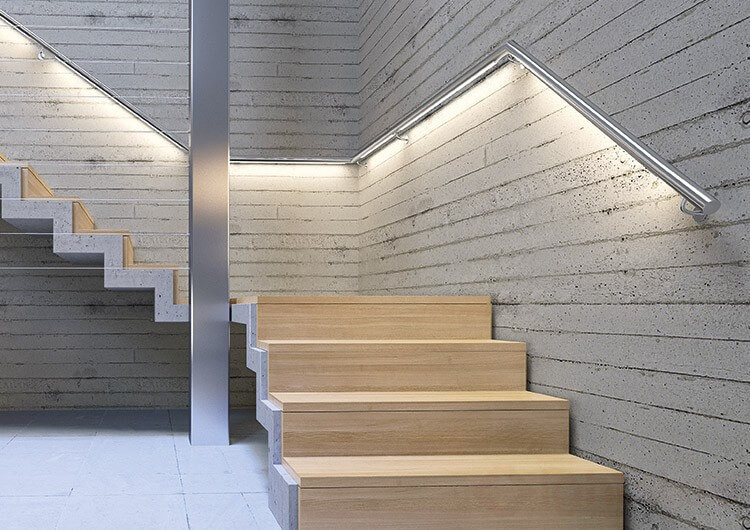 profile in stairs and handrails lighting