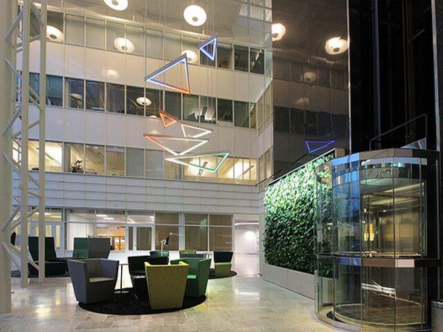 strip light in lobby