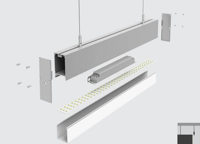 Pendant led linear light fixture