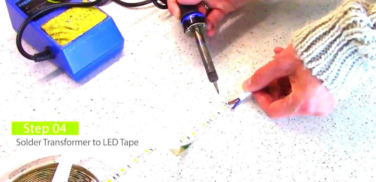 Solder the power supply wire to the led tape