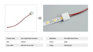 2pin-single-head-connector-waterproof with led strip light