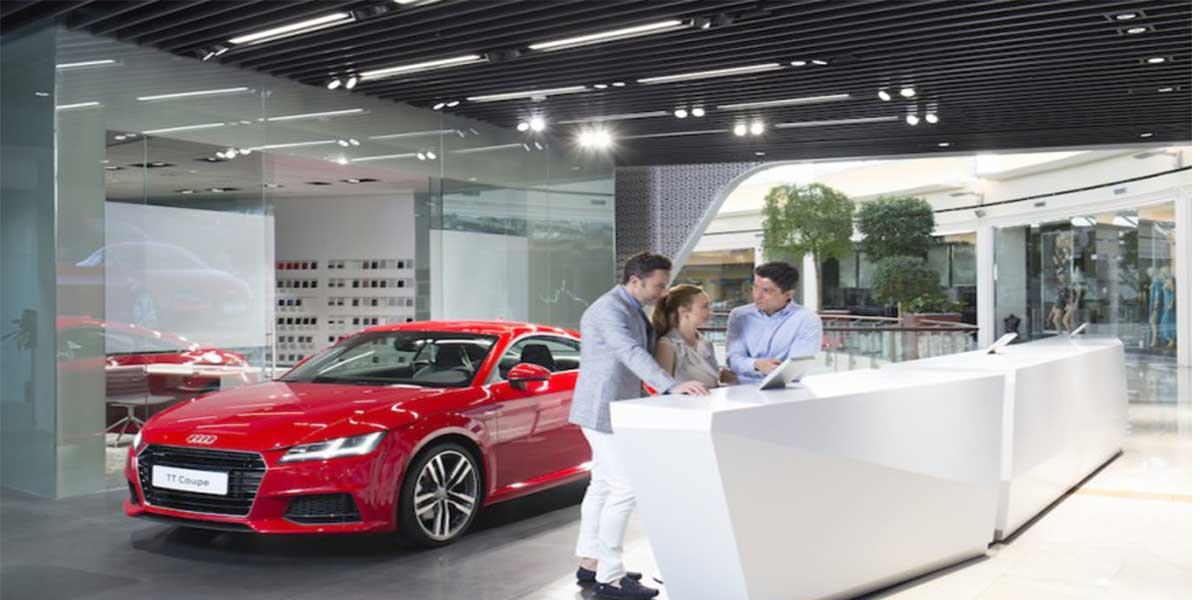 AUDI-SHOWROOM-WITH-LED-LINEAR-LIGHT