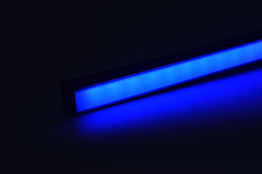 led aluminum profile with black diffuser blue