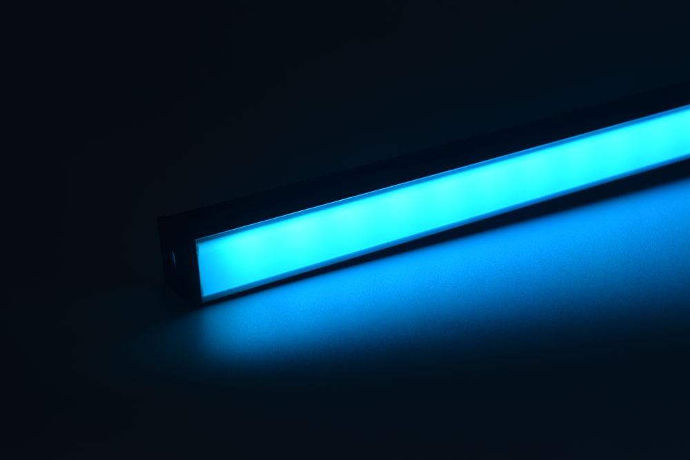 led aluminum profile with black diffuser cyan