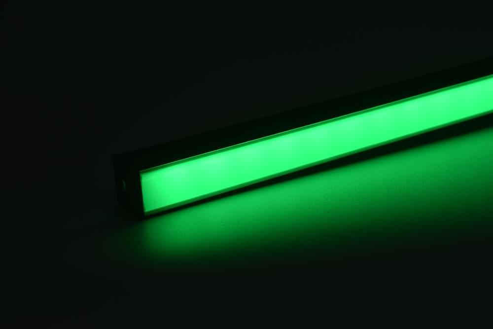 led aluminum profile with black diffuser green