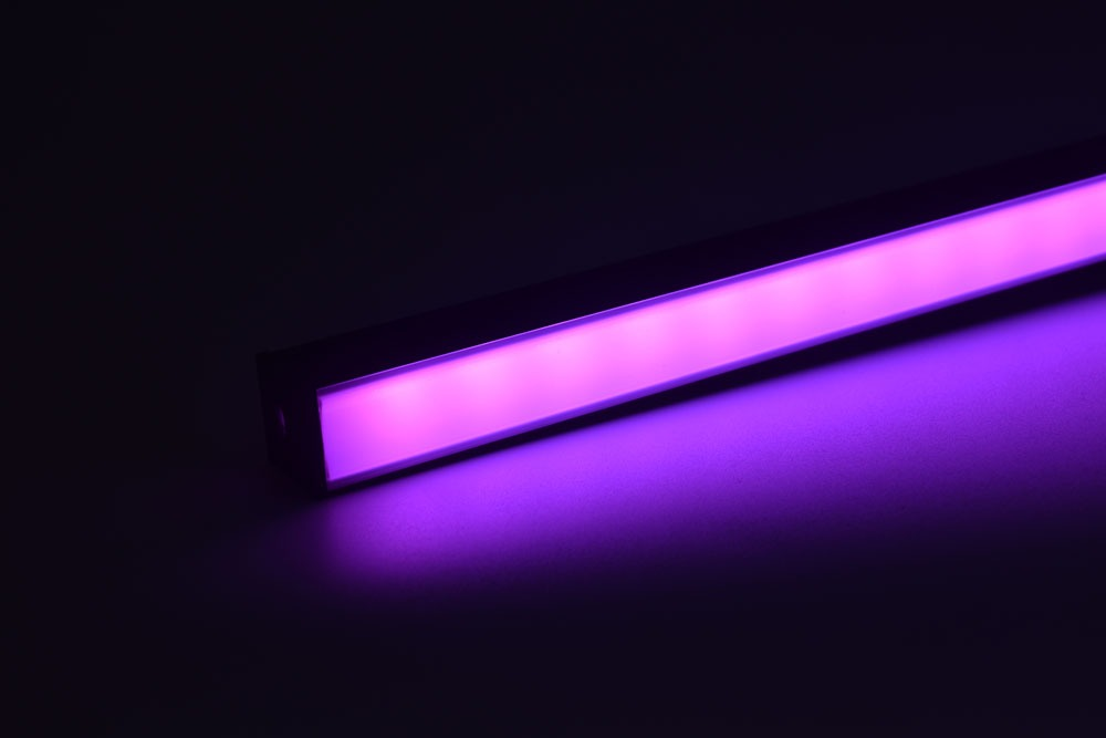 led aluminum profile with black diffuser pink